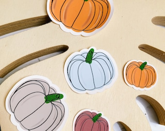 Set of 5 Multi Coloured Pumpkin, Laptop or Notebook Stickers