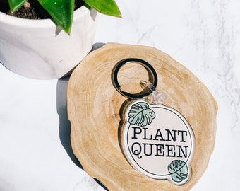 Plant Queen Acrylic Keyring Plant Lover Gift