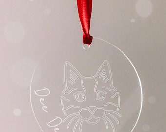 Engraved Acrylic Personalised Cat Christmas Ornament Decoration