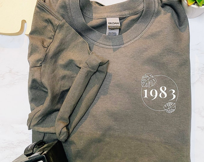 Featured listing image: Personalised Botanical 100% Cotton Crewneck T-Shirt