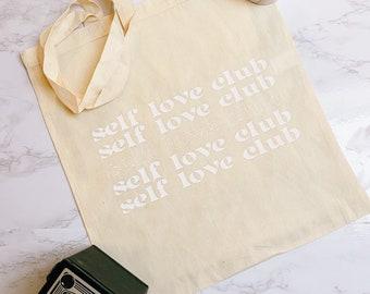 Self Love Club White Vinyl Slogan Tote Bag