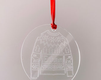 Set of 4 Engraved Acrylic Personalised Christmas Jumper Decorations