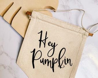 Hey Pumpkin Canvas Hanging Banner Fall Decoration