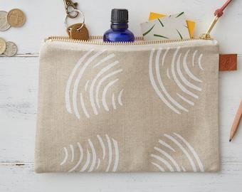 Screen Printed Linen Zipped Bag - Clams Shells
