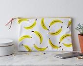 SALE! Screen Printed Bananas Yellow Fruit Leather Clutch Purse Bag Handbag