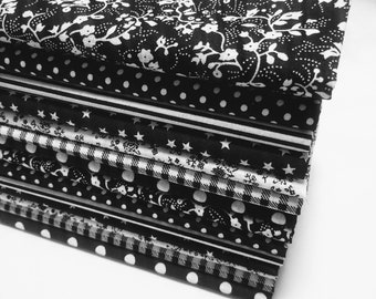 CLOSEOUT-14 Fat Quarters. Black and white. 18x22 each
