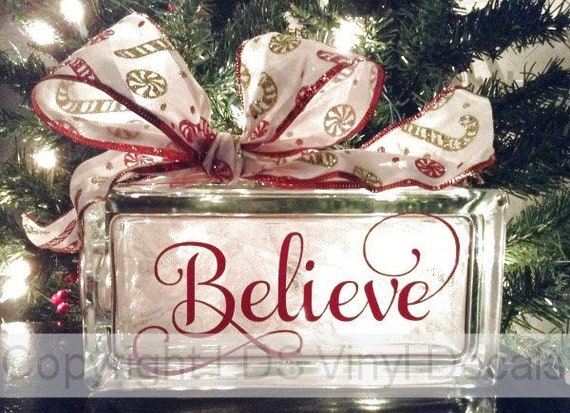 Christmas Vinyl Decals For Glass Blocks.Believe Fancy Christmas Vinyl Lettering For Glass Blocks Holiday Craft Decals Rectangle Block