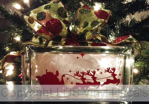 Christmas Vinyl Decals For Glass Blocks.Santa S Sleigh Reindeer And Stars Christmas Vinyl Lettering For Glass Blocks Holiday Craft Decals Rectangle Block
