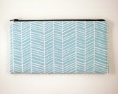 Blue Herringbone Zipper Pouch, Make Up Bag, Pencil Pouch, Gadget Bag