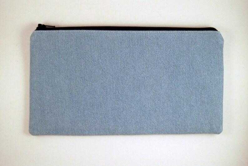 Light Blue Denim Zipper Pouch Pencil Pouch Make Up Bag image 0