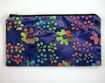 Blue / Colorful Batik Zipper Pouch, Make Up Bag, Gadget Bag, Pencil Pouch, Blue Batik