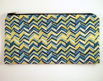 Blue and Yellow Chevron Zipper Pouch, Make Up Bag, Gadget Bag, Pencil Pouch