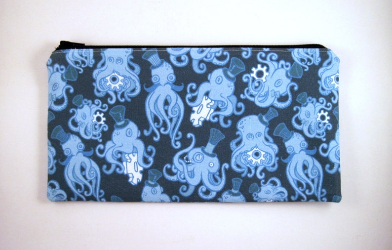 Blue Steampunk Octopus Zipper Pouch Make Up Bag Gadget Bag image 0