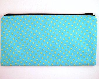 Blue Yellow Polka Dot Zipper Pouch, Pencil Case, Make Up Bag, Gadget Bag