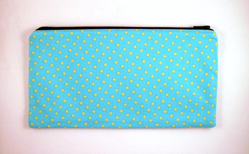 Blue Yellow Polka Dot Zipper Pouch Pencil Case Make Up Bag image 0