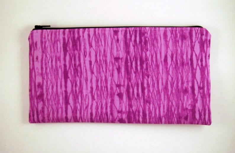 Purple Zipper Pouch Make Up Bag Pencil Case Gadget Bag image 0