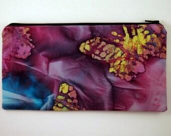 Purple Batik Zipper Pouch, Cosmetic Bag, Gadget Bag, Butterflies