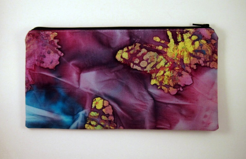 Purple Batik Zipper Pouch Cosmetic Bag Gadget Bag image 0