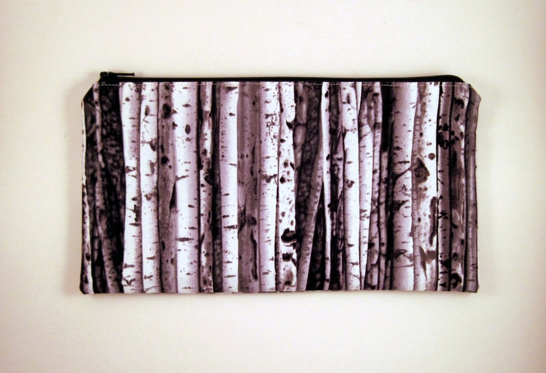 Gray Birch Tree Pencil Pouch Zipper Pouch Make Up Bag image 0