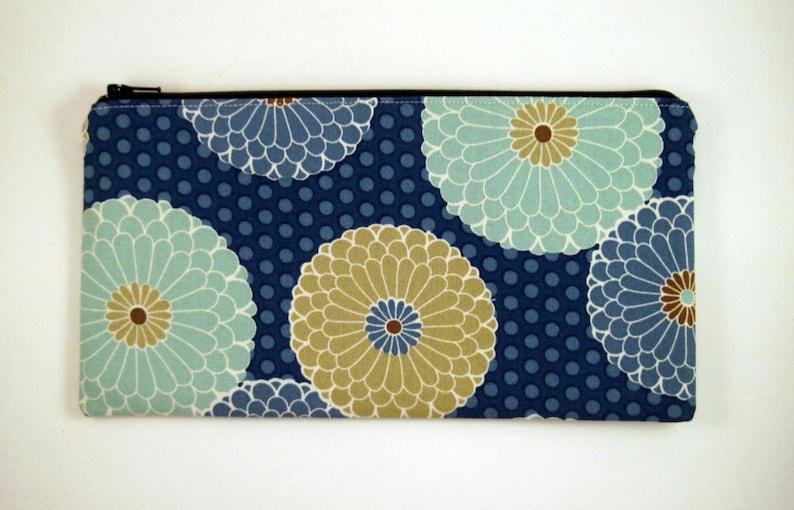 Blue Flower Zipper Pouch Gadget Bag Make Up Bag Pencil image 0