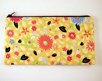 Yellow Floral Zipper Pouch, Gadget Bag, Make Up Bag, Pencil Pouch