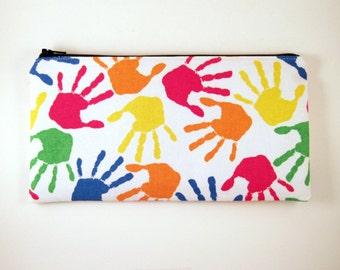 Colorful Hands Zipper Pouch, Gadget Bag, Make Up Bag, Pencil Pouch
