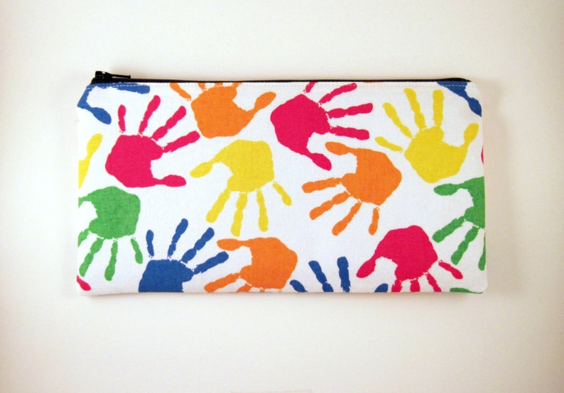 Colorful Hands Zipper Pouch Gadget Bag Make Up Bag Pencil image 0