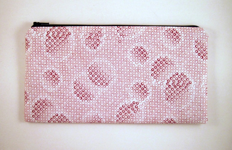 Red Polka Dot Zipper Pouch Pencil Pouch Make Up Bag Gadget image 0