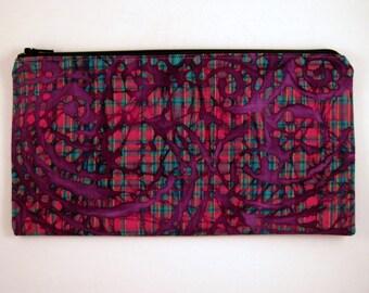 Purple Plaid Colorful Zipper Pouch, Pencil Case, Pencil Pouch, Make Up Bag, Gadget Bag
