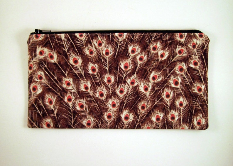 Brown Peacock Feather Zipper Pouch Pencil Pouch Cosmetic image 0