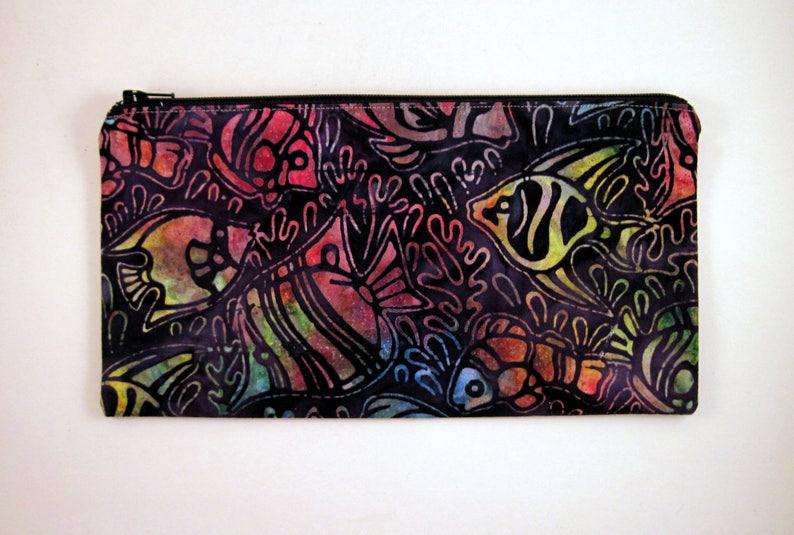 Black Colorful Fish Pencil Case Batik Make Up Pouch Pencil image 0