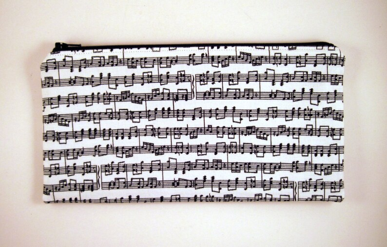 Black and White Musical Notes Pencil Case Zipper Pouch Make image 0