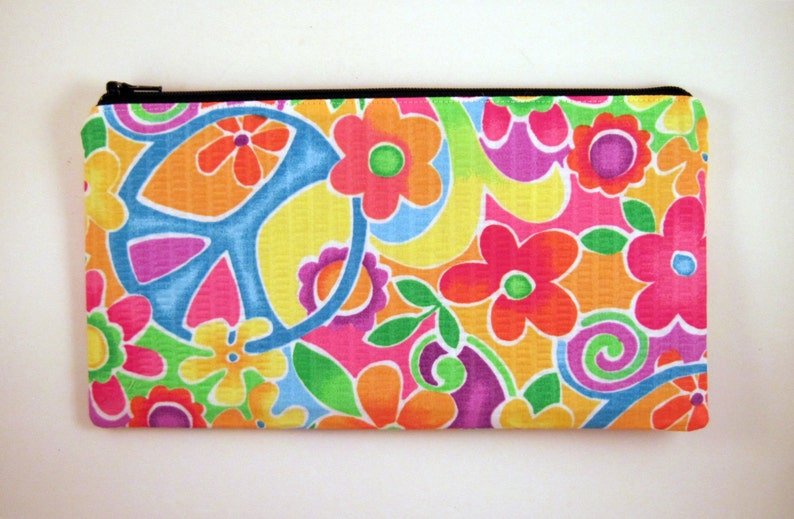 Peace Pencil Case Pencil Pouch Flowery Zipper Pouch Make Up image 0