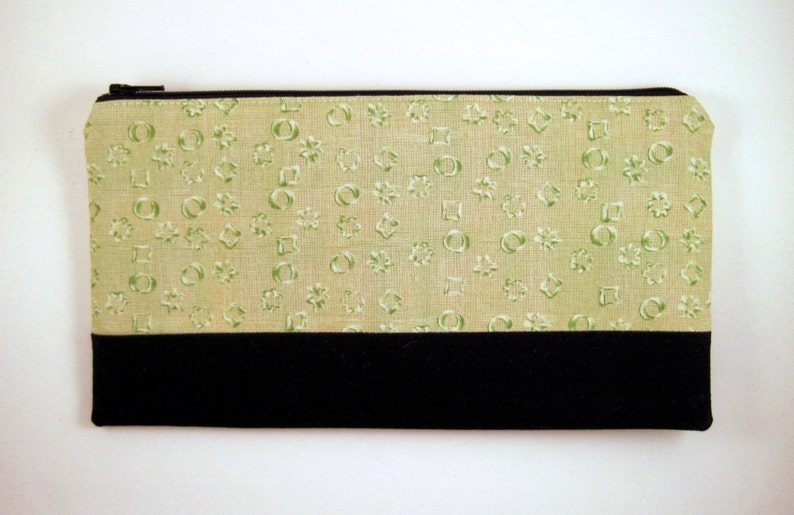 Color Block Green Black Zipper Pouch Make Up Pouch Gadget image 0