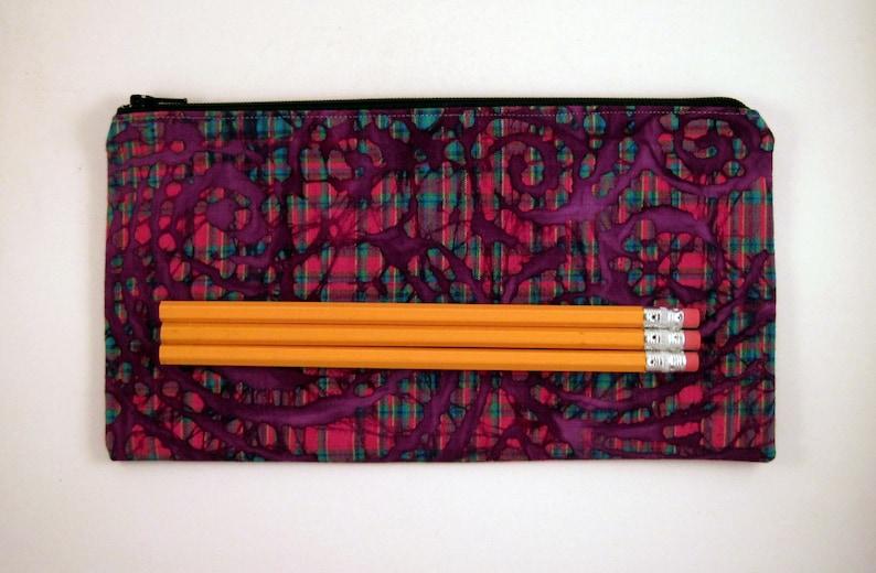 Gadget Bag Purple Plaid Colorful Zipper Pouch Pencil Case Make Up Bag Pencil Pouch