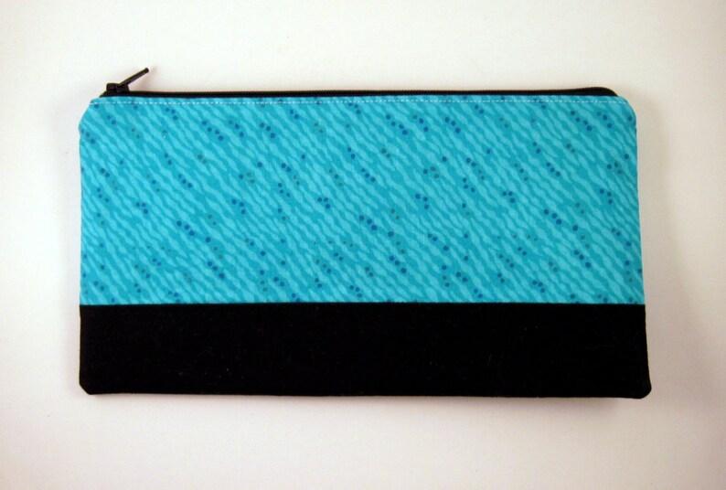 Color Block Blue Zipper Pouch Make Up Case Gadget Bag image 0