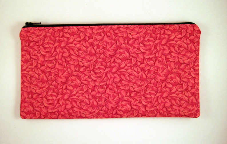 Red Leaf / Tiny Leaves Pencil Case Make Up Pouch Gadget Bag image 0