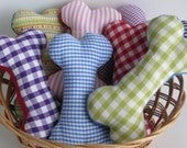 Small Fabric squeaky dog toy bones
