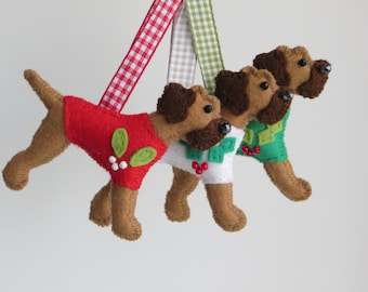 Red Grizzle Border Terrier Felt Dog Christmas Tree Ornament