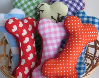 Rainbow colours Small Fabric squeaky dog toy bones
