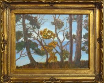 Ornately Framed Original Oil Paint on Copper Lopez Island Trees