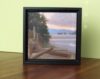 Small Landscape, Small Oil Painting, Daily Painting, Pacific NW Islands, low tide driftwood painted copper art black wood floater frame OOAK