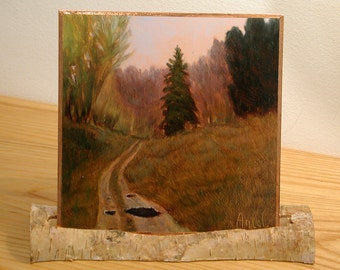 Small Landscape Oil Painting Puddles in the Road of Life Painting on Reflective Copper in Natural Birch Stand Twig display on Desk or Shelf