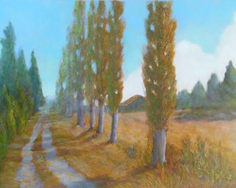 Small Landscape, Small Oil Painting, Daily Painting, Lombardy Poplar Lane on Lopez Island, San Juans, WA Oil Paint on Copper with frame OOAK