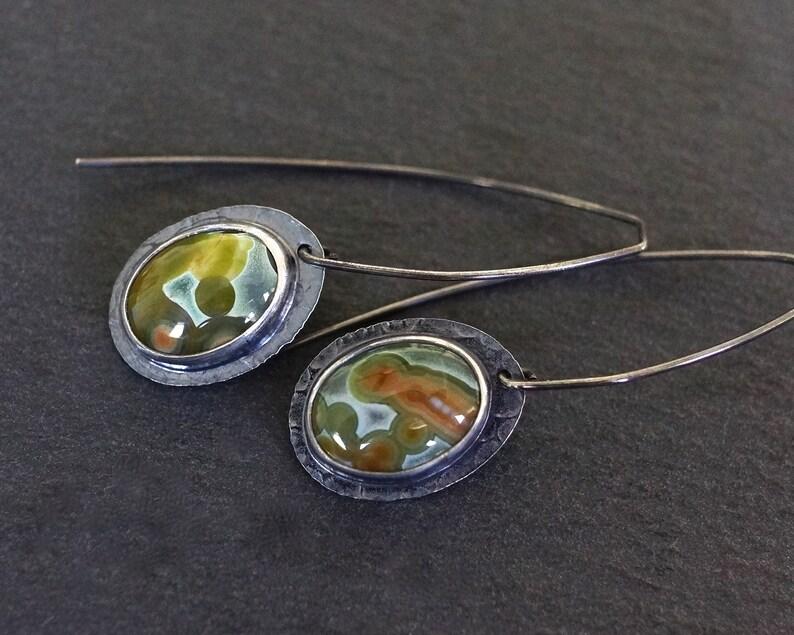Orbicular jasper gemstone earrings Teal green ocean jasper long dangle earrings Long ear wires. Ocean jasper earrings