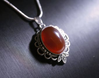 Other Fine Jewellery Chili Pepper Oval Turquoise With Round Carnelian Sterling Silver Pendant A Great Variety Of Goods Jewellery & Watches
