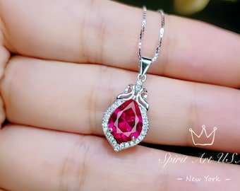 July Birthstone Dainty Pendant 1.00 Ct Oval Cut Pink Ruby Teardrop Pendant Necklace Yellow Gold Plated Sterling Silver Necklace For Women