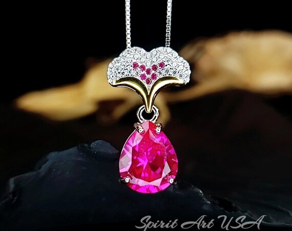 Large Pink Tourmaline Necklace Diamond Leaf Oval 6 CT Fuchsia Red Tourmaline Pendant Sterling Silver White Gold coated Bridal Jewelry