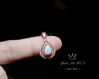 Fire Opal Pendant Necklace Halo with Natural Diamonds Minimal Pendant 925 Sterling Silver Valentine Gift for her Teardrop minimalist Pendant