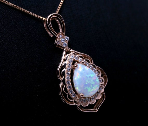 White Fire Opal Leaf Silver Jewellery Pendant for Necklace